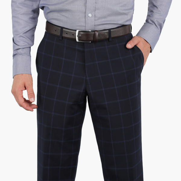 Navy On Blue Windowpane Stretch Pants