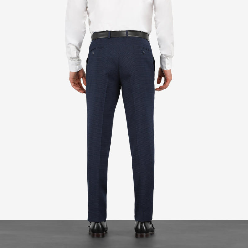 Navy Houndstooth Stretch Pants