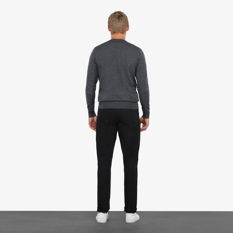 Charcoal Slim Fit Crew Neck Knit Sweater