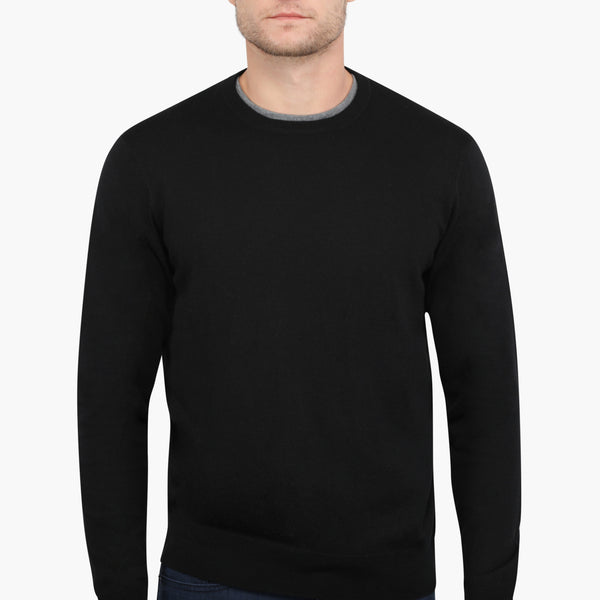 Black Slim Fit Crew Neck Knit Sweater