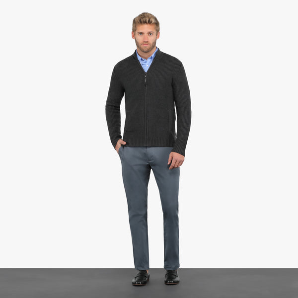 Charcoal Slim Fit Cable Knit Zip-Up Jacket