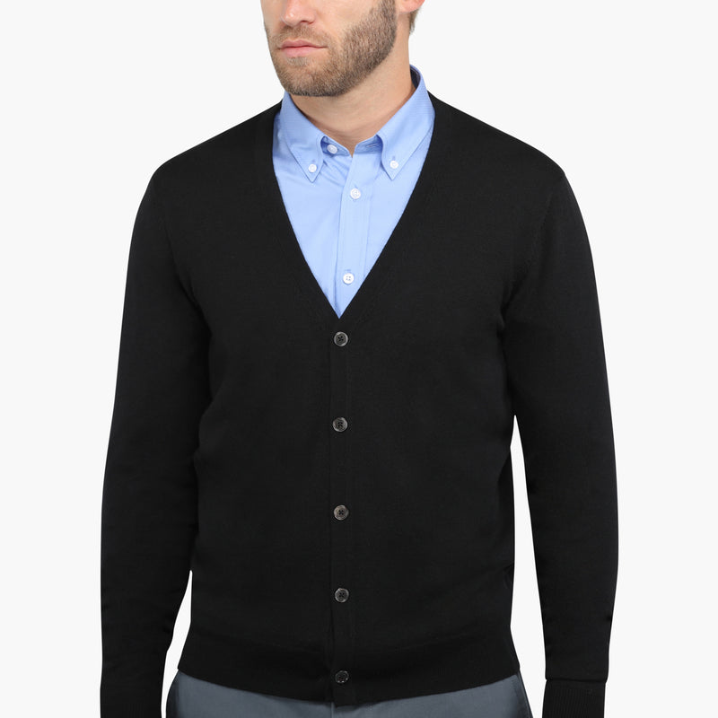 Black Slim Fit Cardigan Knit Sweater