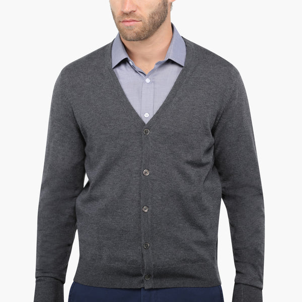 Charcoal Slim Fit Cardigan Knit Sweater