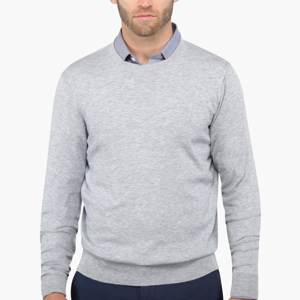 Light Grey Slim Fit Crew Neck Knit Sweater