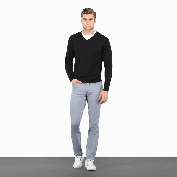 Black Slim Fit V Neck Knit Sweater
