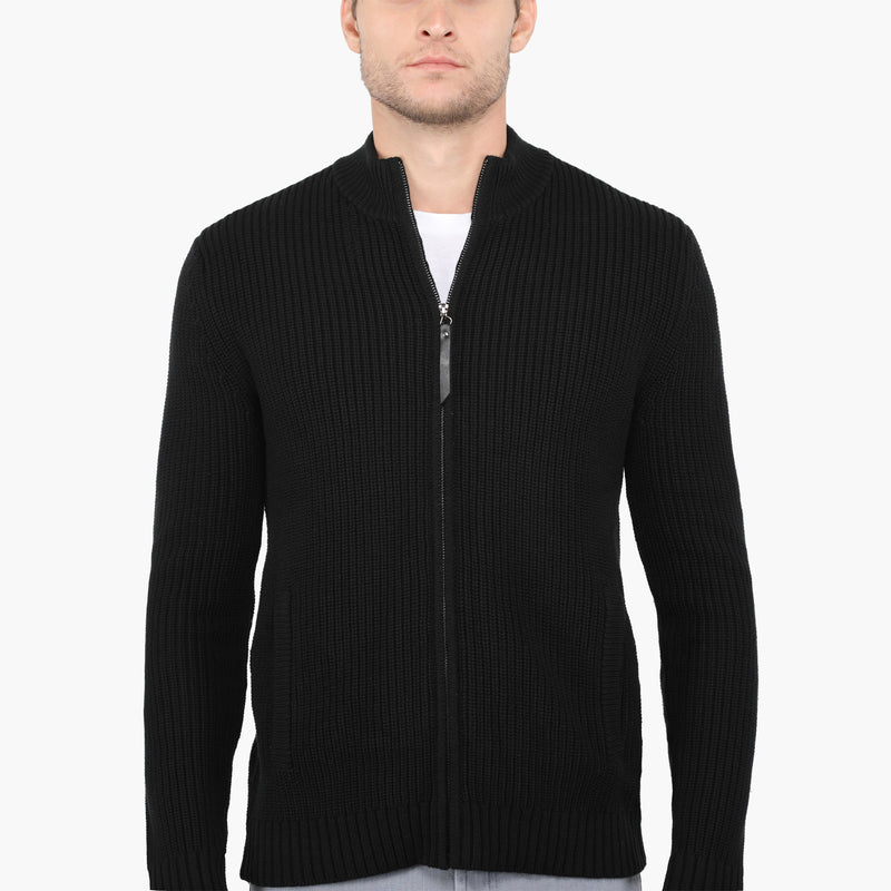 Black Slim Fit Cable Knit Zip-Up Jacket