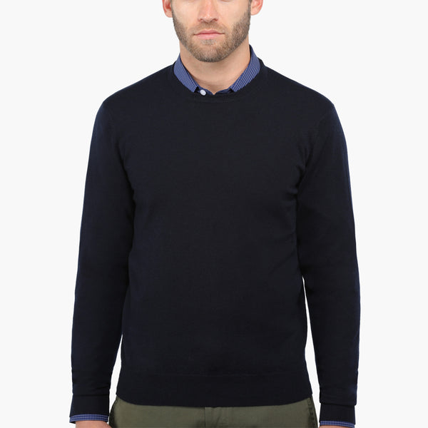 Navy Slim Fit Crew Neck Knit Sweater