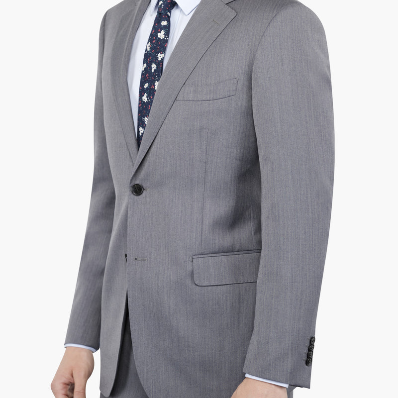 Grey Herringbone Tailored Fit Suit