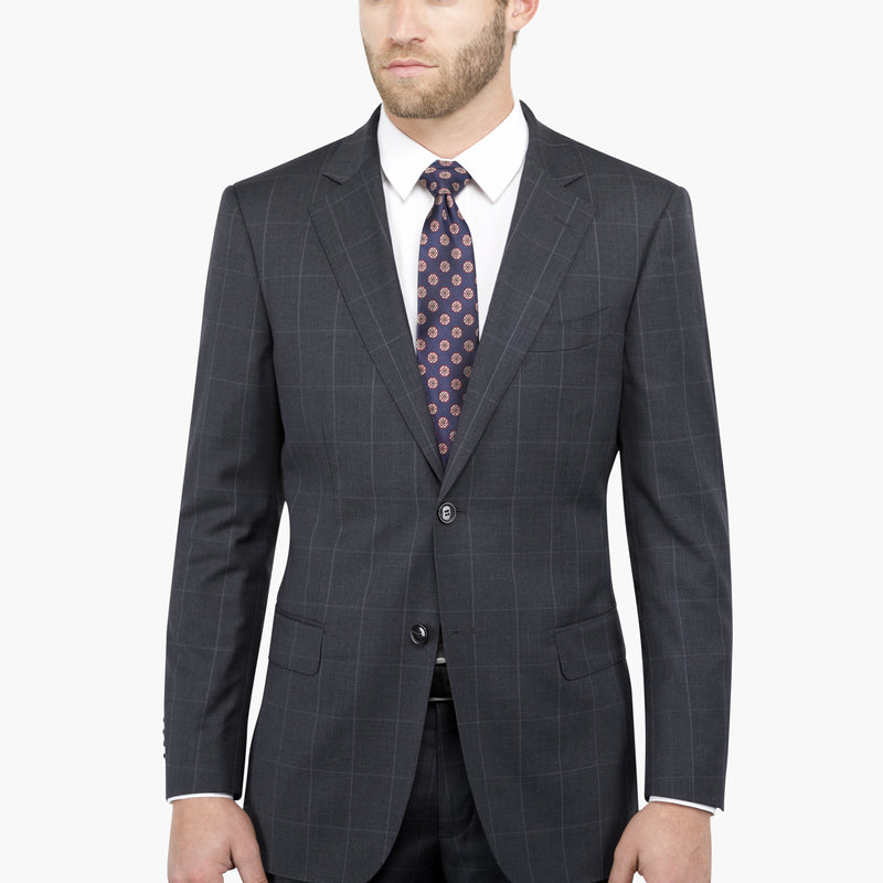 Charcoal and White Windowpane Tailored Fit Suit