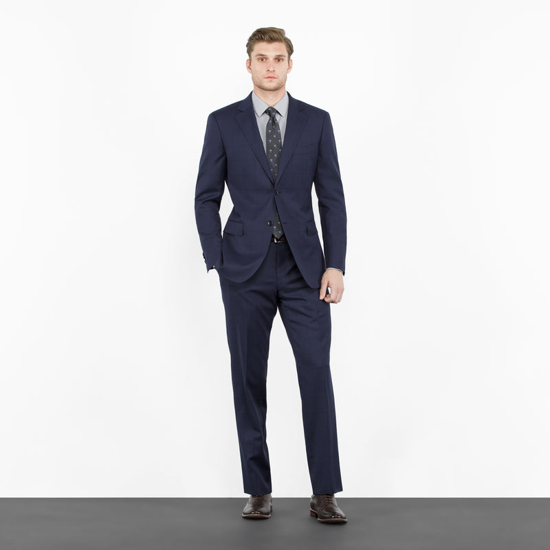 Navy and Black Windowpane Tailored Fit Suit
