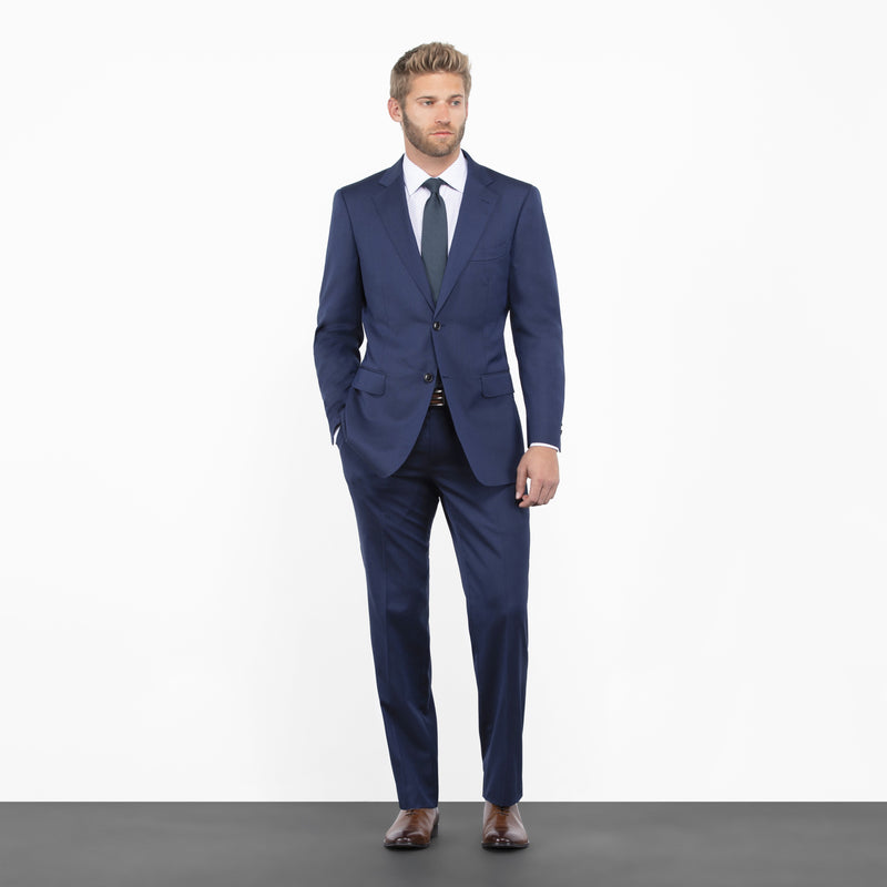 Blue Herringbone Tailored Fit Suit