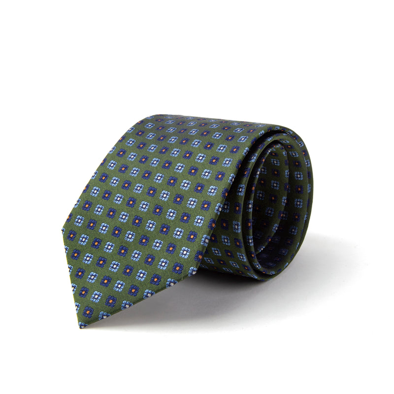 Green With Alternating Daisy Pattern Tie
