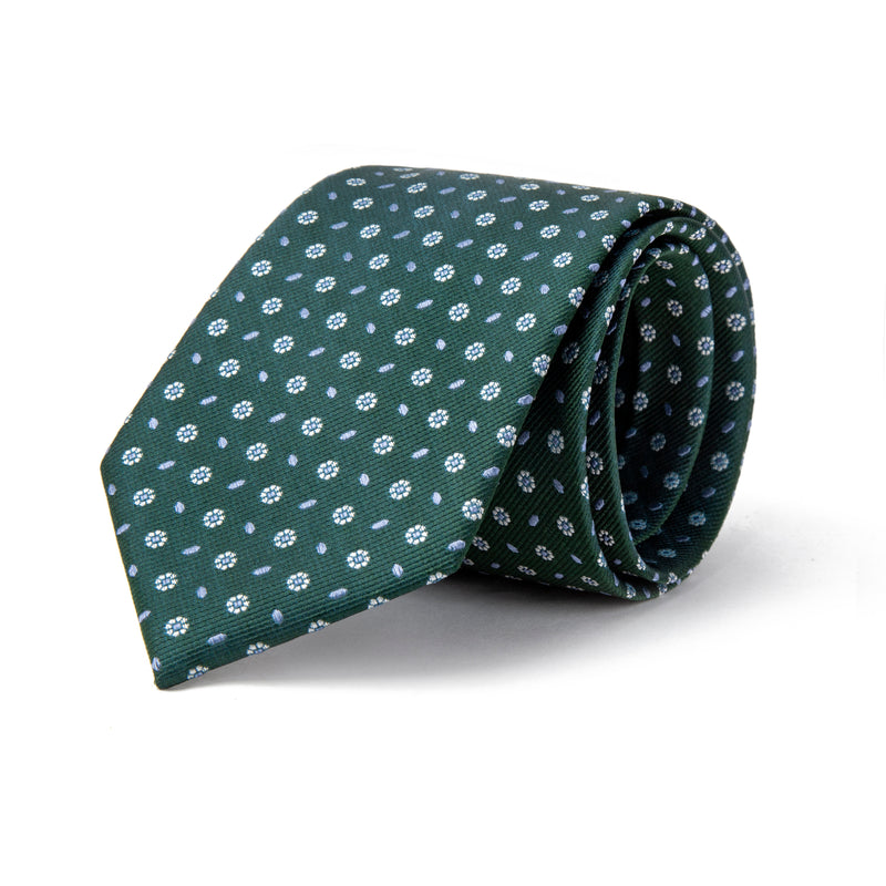 Green With Micro Dot And Dash Daisy Tie