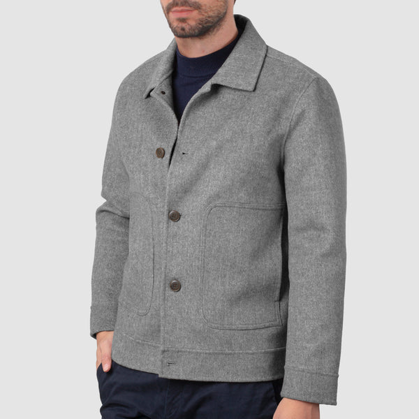 Grey Wool Button Down Bomber