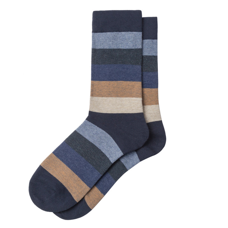 Navy Multi-Color Stripe Patterned Sock