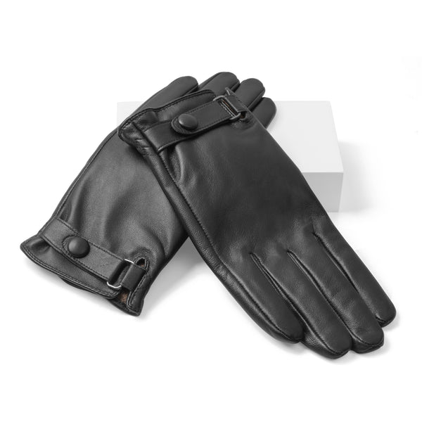Black Genuine Leather Commuter Gloves