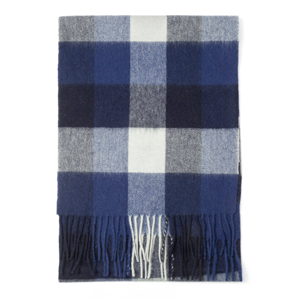 Blue and Grey Windowpane Scarf