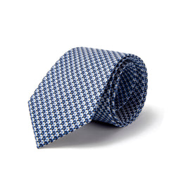 Light Blue and Silver Deconstructed Houndstooth Tie