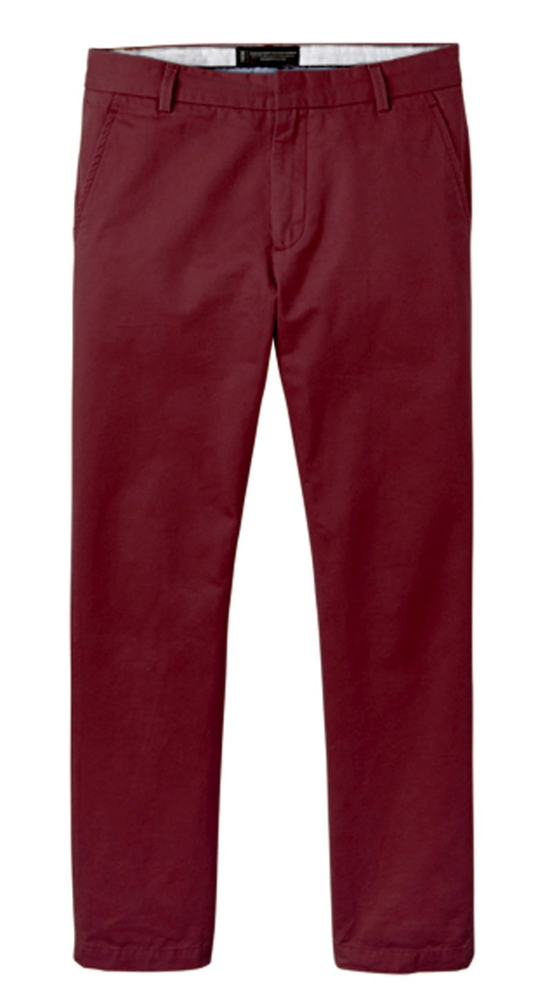 Maroon Straight Stretch Chino Pant