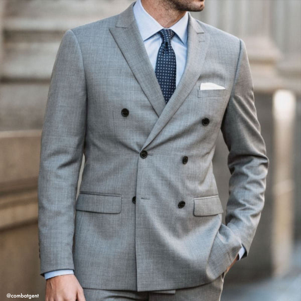 Essential Grey Double Breasted Slim Fit Suit Jacket