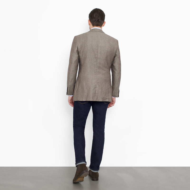 Ash Brown Linen Tailored Fit Blazer