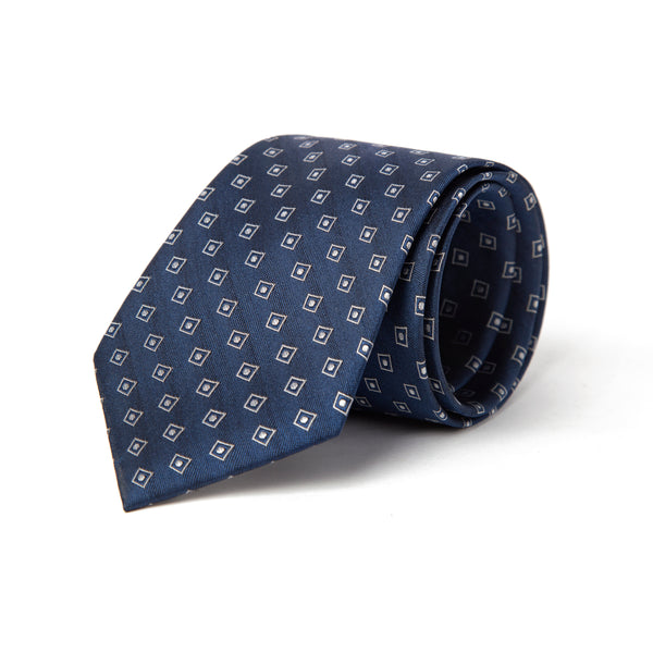 Navy Textured Geometric Foulard Tie