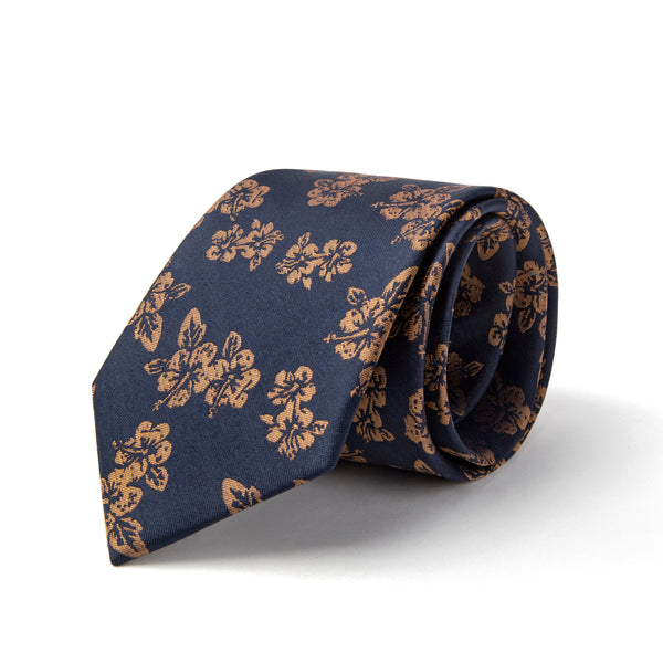 Navy With Orange Floral Print Tie