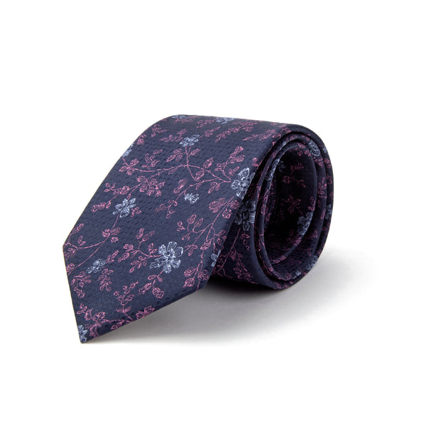 Navy With Purple All Over Floral Pattern Tie