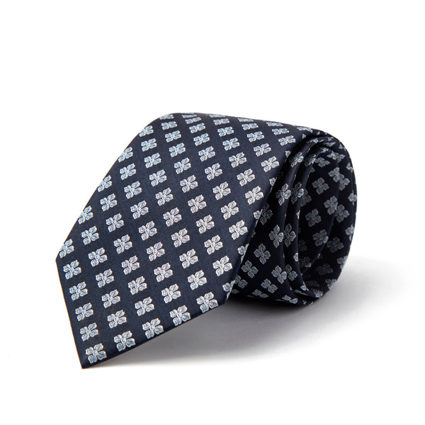 Navy With Silver Daisy All Over Pattern Tie