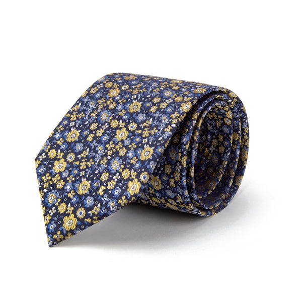 Navy With Yellow and Blue All Over Floral Print Tie