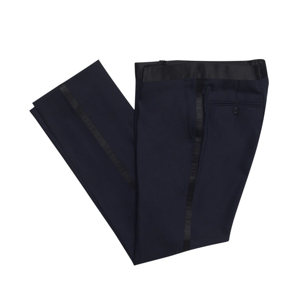 Navy Slim Fit Shawl Collar Tuxedo Pant