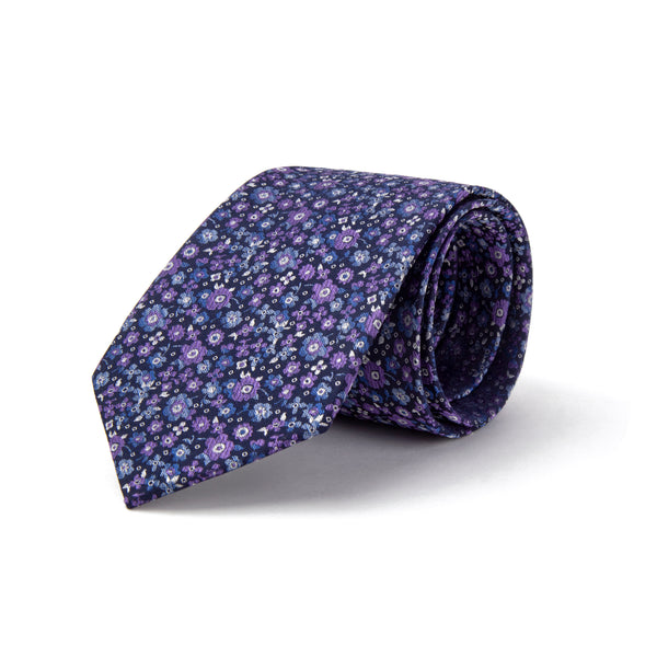 Purple All Over Floral Pattern Tie