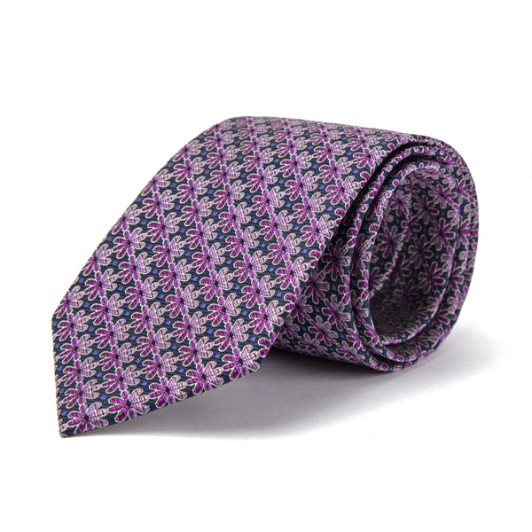 Purple Retro Foulard Tie