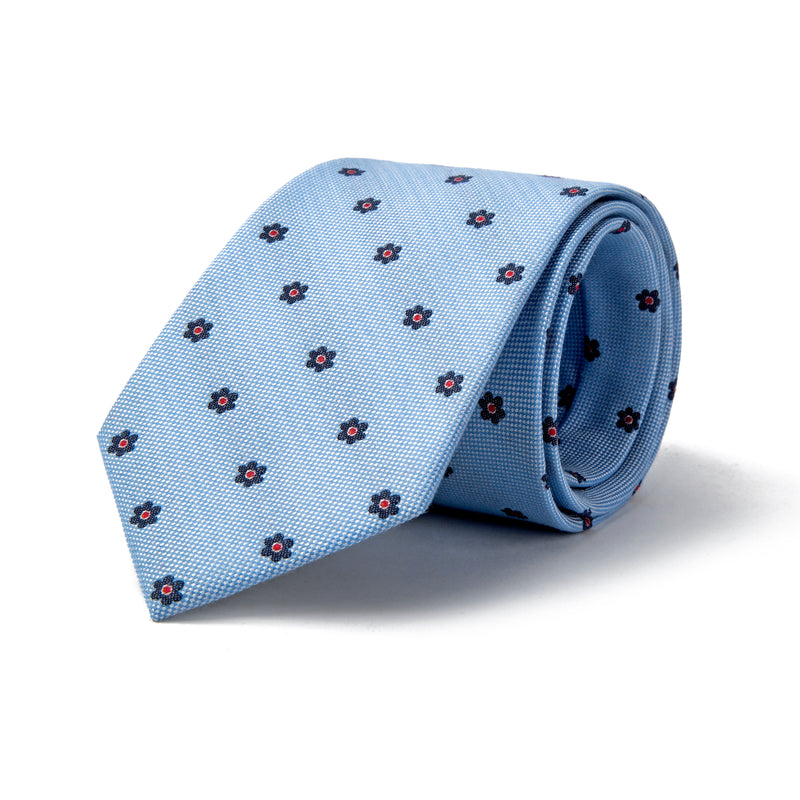 Sky Blue With Navy Daisy Tie