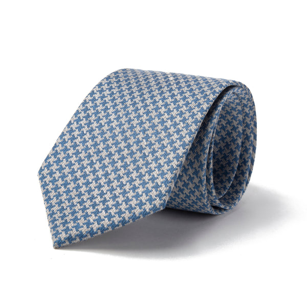 Sky Blue and Grey Macro Houndstooth Tie