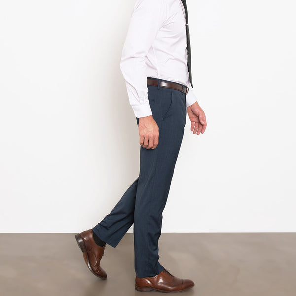 Navy Herringbone Stretch Pants