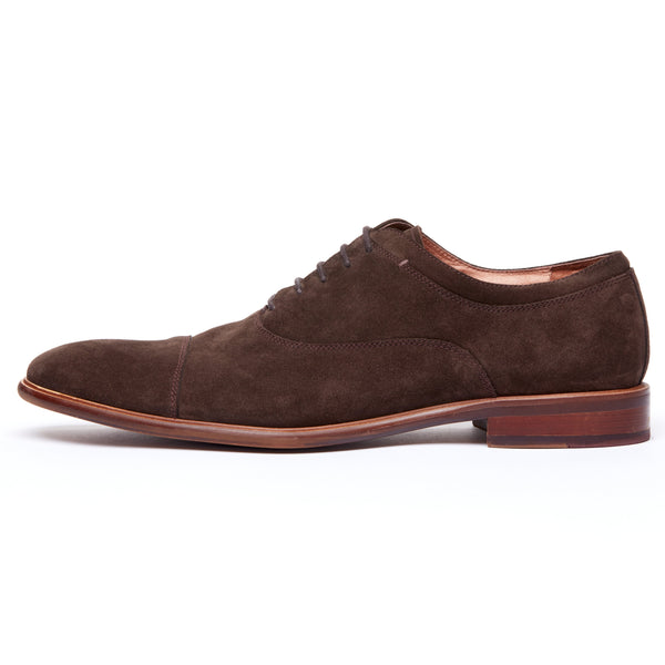 Coffee Suede Cap Toe Lace Up Oxford