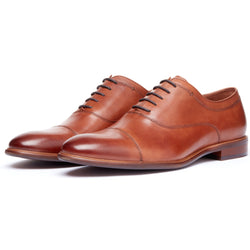 Brown Cap Toe Lace Up Oxford