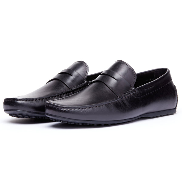 Black Leather Driving Loafer