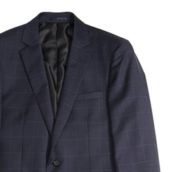 Navy Windowpane Tailored Fit Suit Jacket