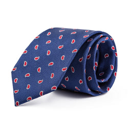 Navy and Red Mini Paisley Tie