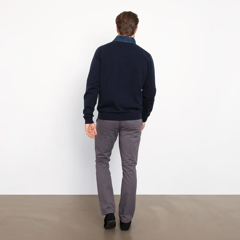 Navy Slim Fit Full Zip Knit Sweater