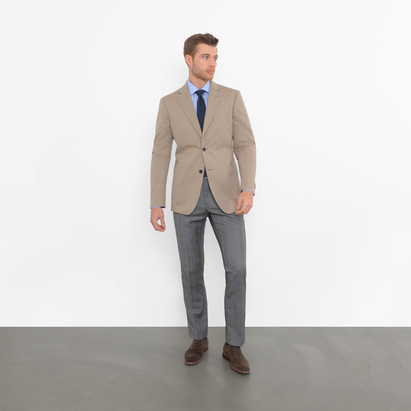Khaki Cotton Twill Tailored Fit Travel Jacket