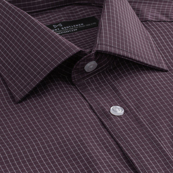 Burgundy Grid Stretch Athletic Fit Wide Spread Collar Shirt