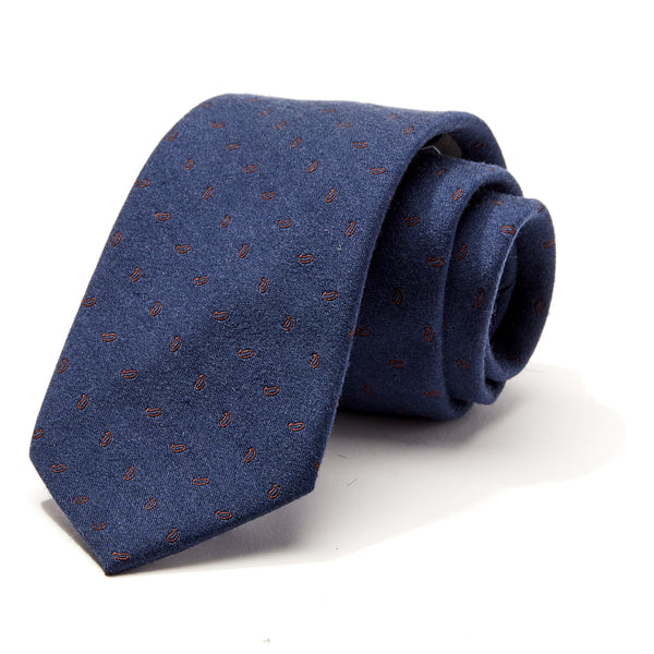 Navy and Burgundy Print Tie