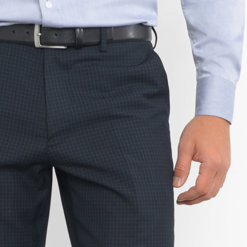 Blue on Black Mini Windowpane Workhorse Pants