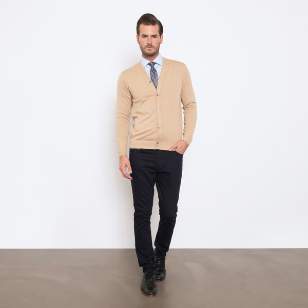 Camel Slim Fit Cardigan Knit Sweater