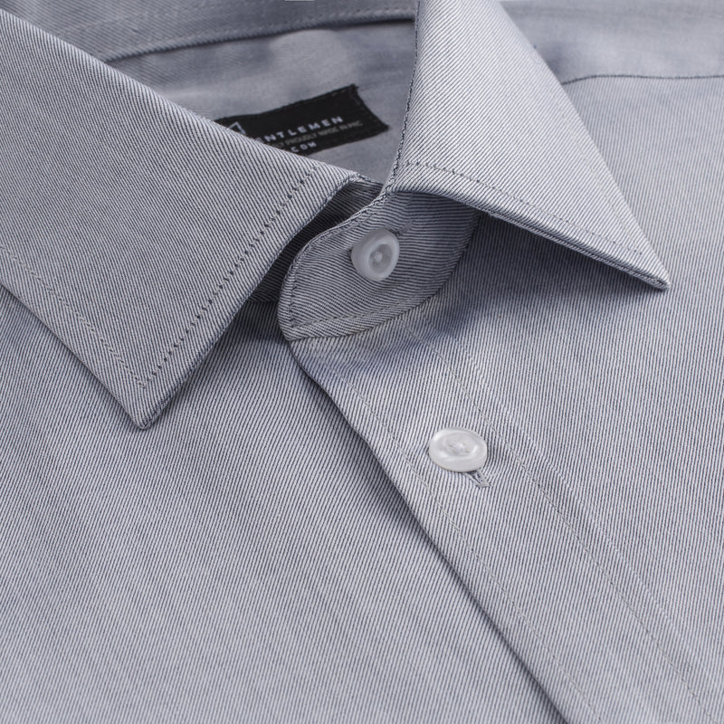 Light Grey Twill Athletic Fit Wide Spread Collar Shirt