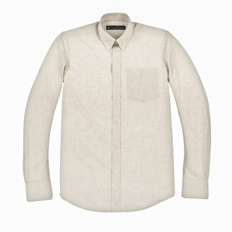 Off-White Chambray Athletic Fit Button-Down Collar Shirt