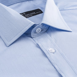 Light Blue Tonal Check Athletic Fit Wide Spread Collar Shirt